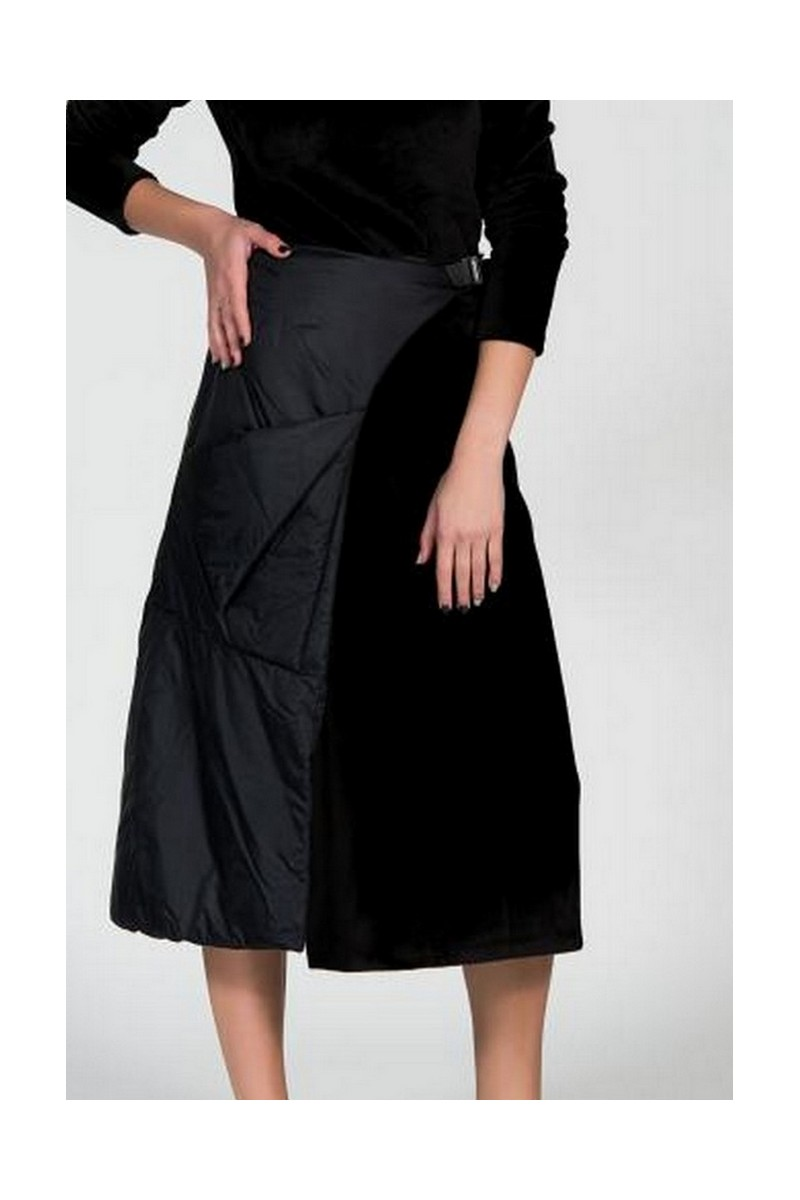 Buy Exclusive black raincoat eco fur skirt, designer original unique midi skirt