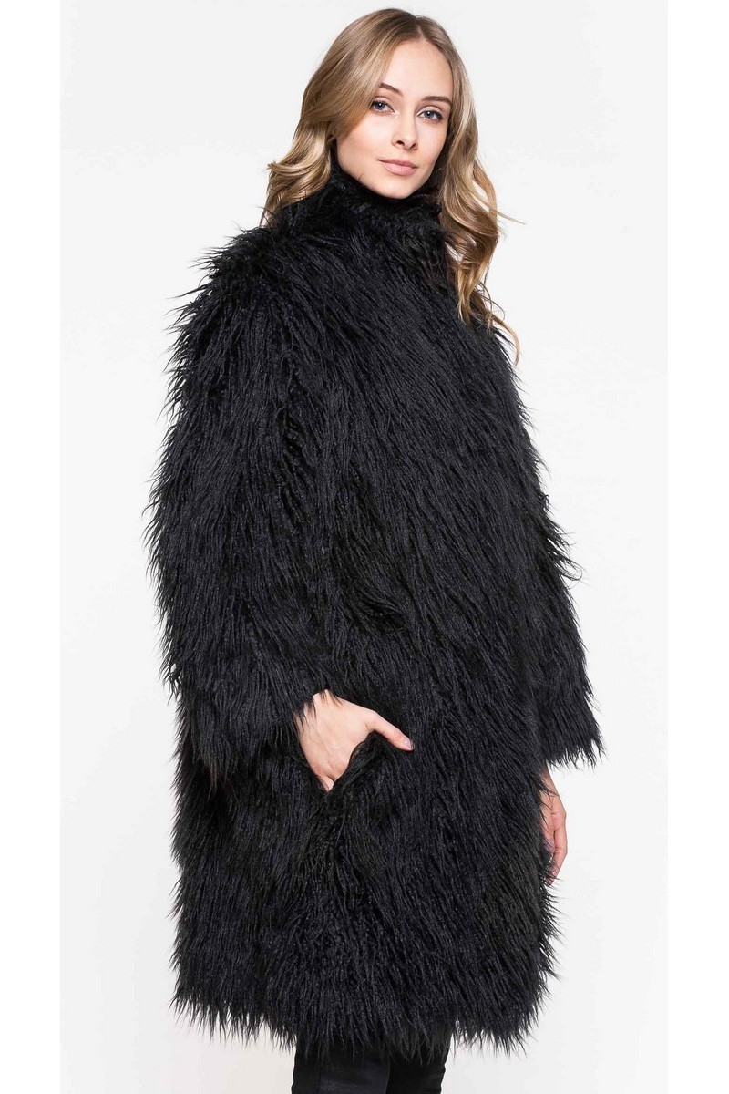 Buy Black Woman Straight Faux fur Coat, Knee-Length Buttons Pockets Warm Coat, Unique Designs Stylish Clothes