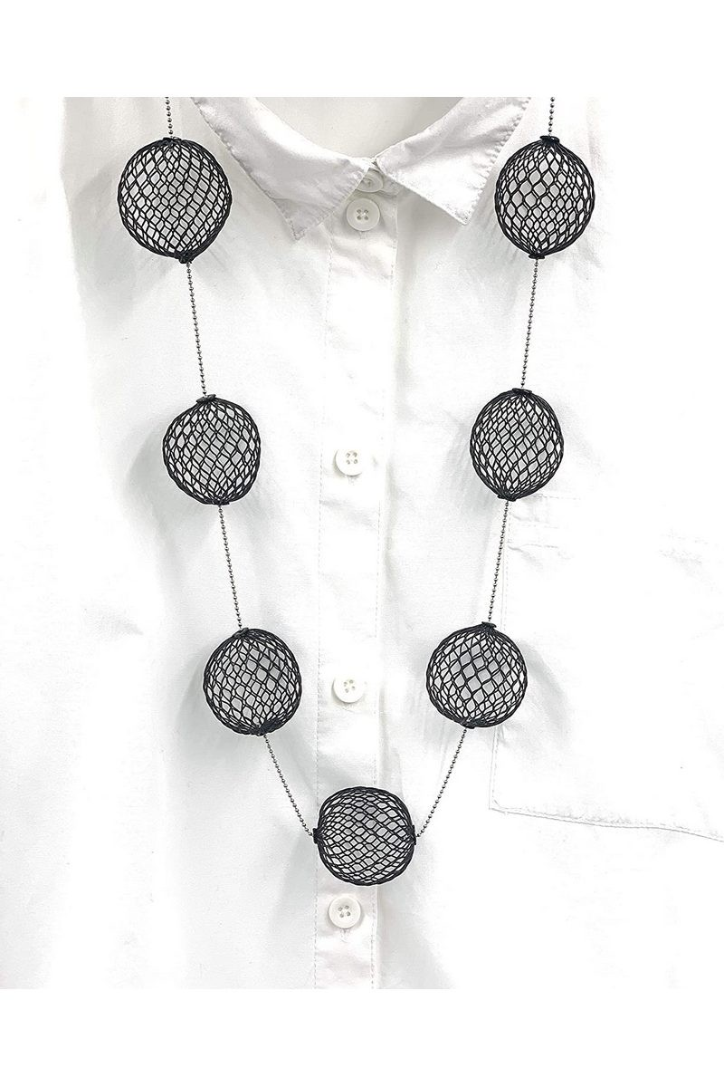 Buy Handmade Women's Geometric Statement Contemporary necklace Black & Stainless Steel ball chain
