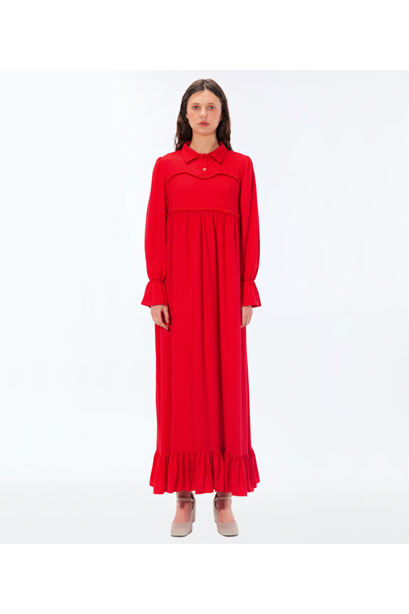 Buy Women red black long viscose dress, long sleeve oversized dress with buttoms