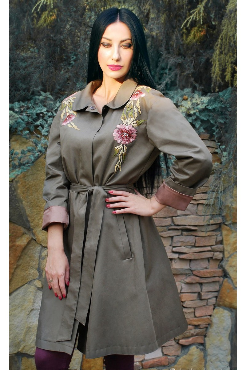 Buy Gray female embroidery exclusive button belt cloak