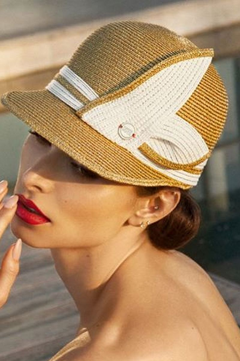 Buy Summer women`s stylish gold and white visor hat in retro style, Designer cap for ladies