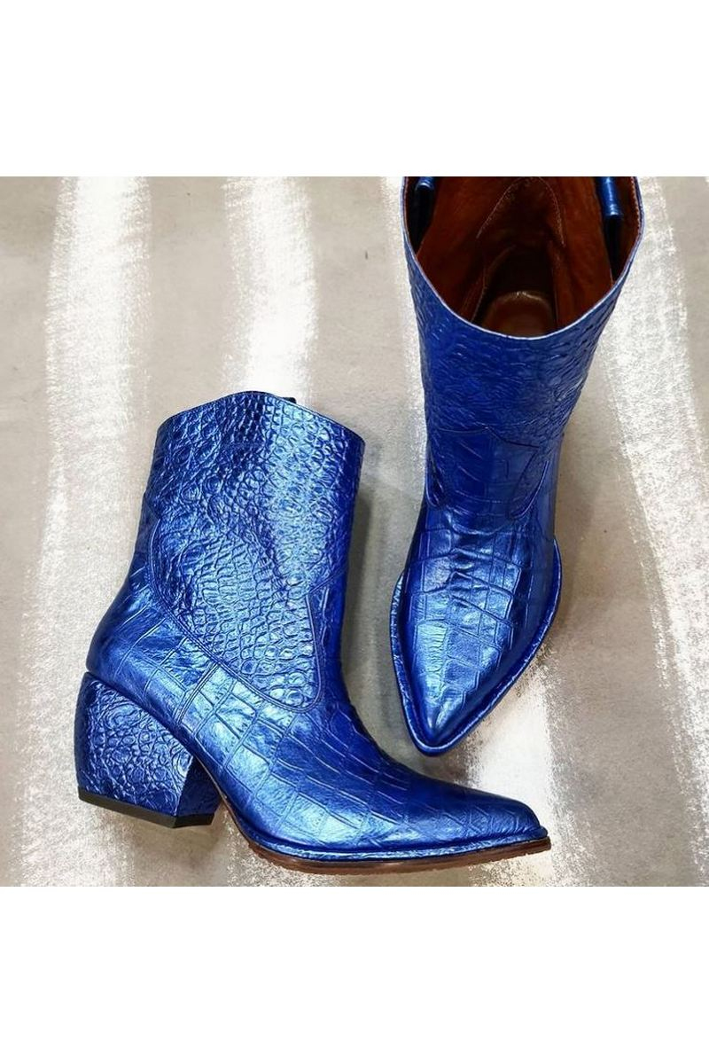 Buy Women's Blue Learher Crocodile Embroidery Round Toe Cowboy Boots Western
