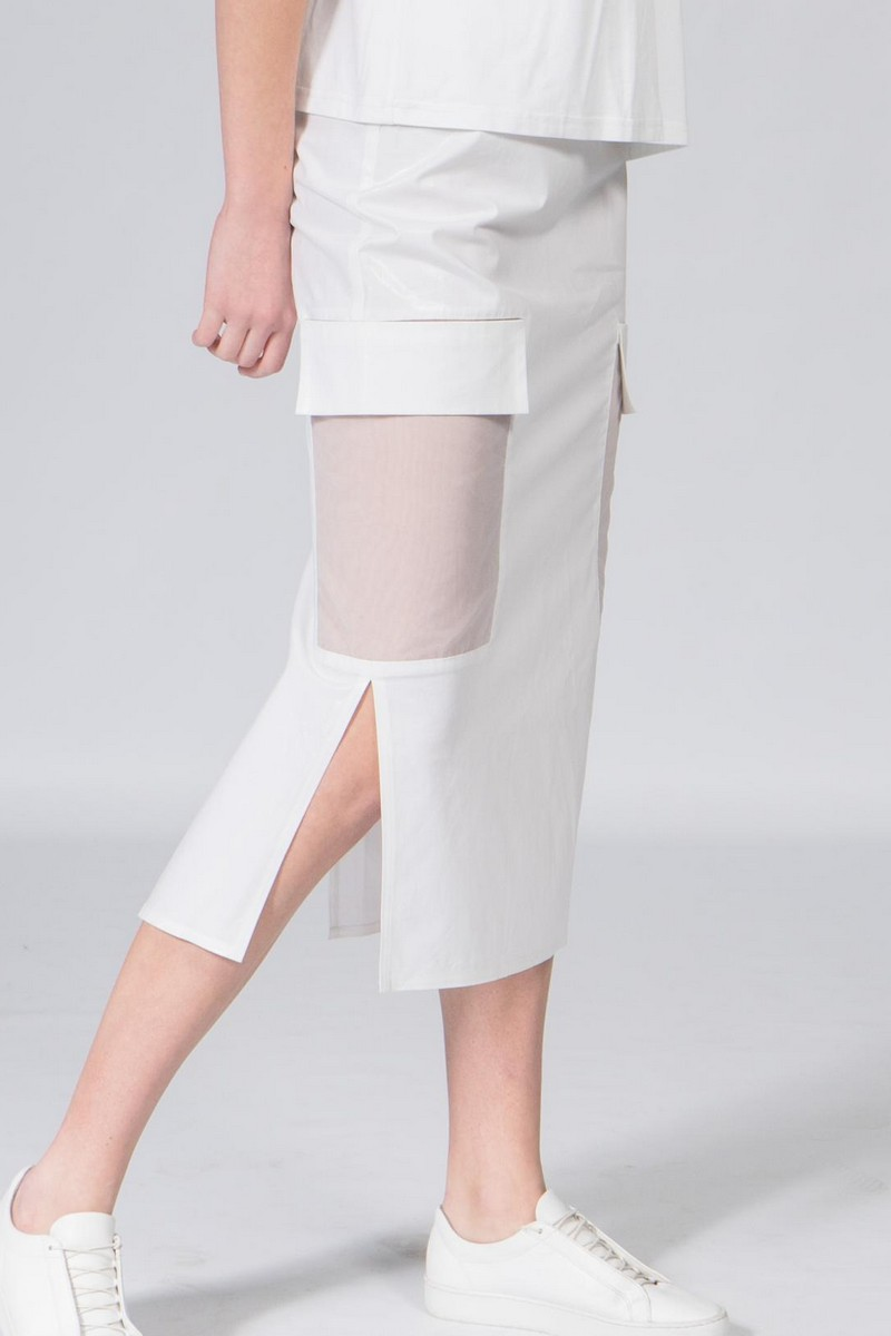 Buy Women`s summer cotton midi slits white skirt, Сomfortable straight pocket ladies skirt