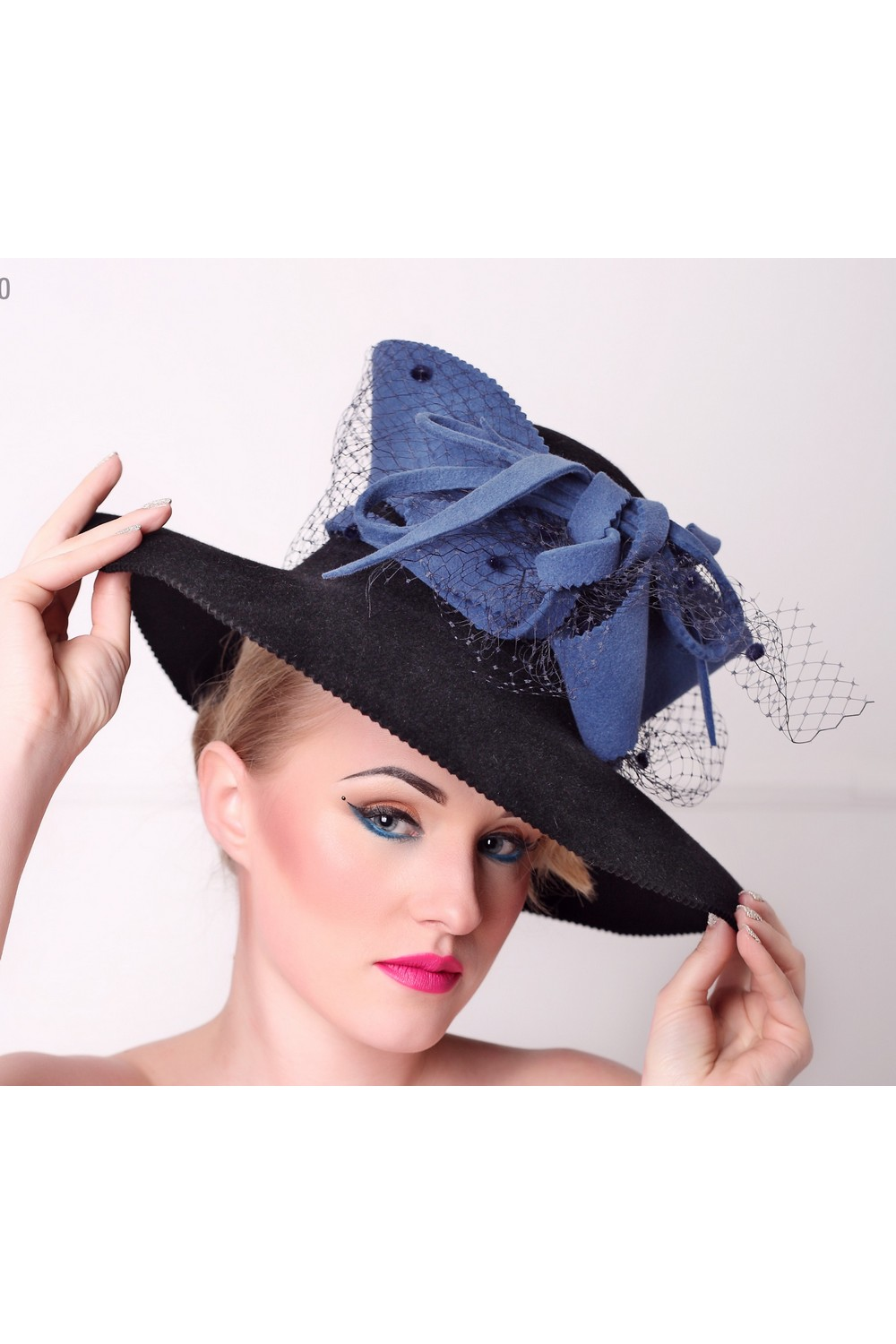 Buy Black women`s felt top hat with blue bow and veil, Unique designer stylish hat