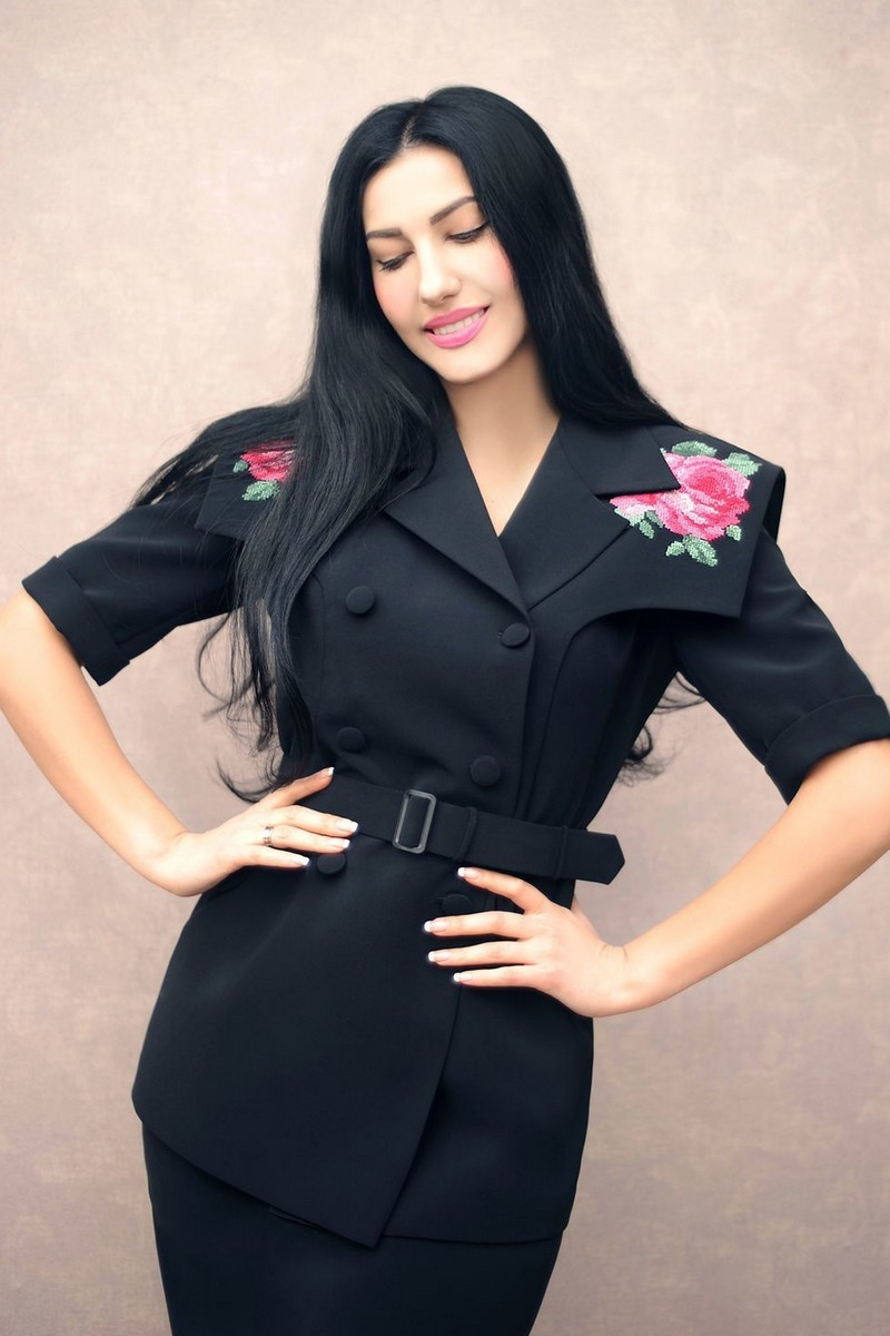 Buy Embroidered black elegant viscose costume, stylish party women unique suit