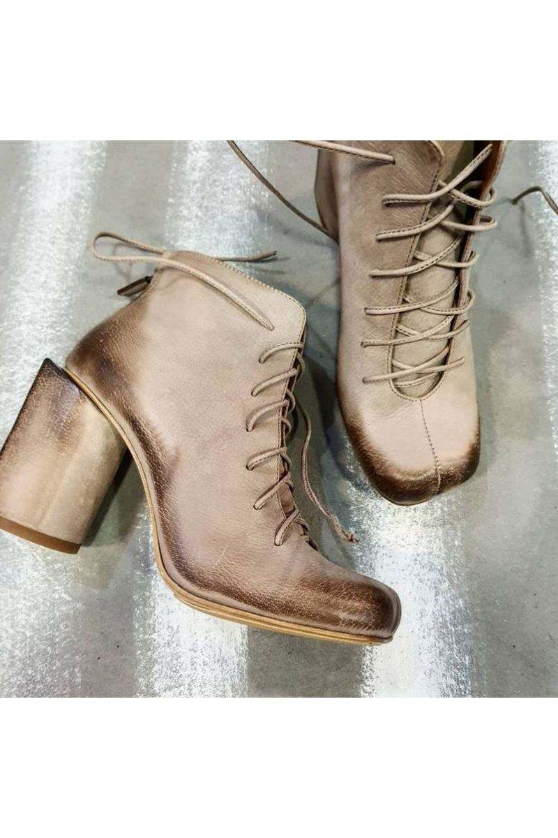 Buy Women Square Toe Comfy Beige Leather Heel Lace Up Ankle Booties