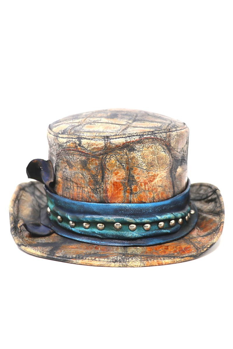 Buy Color Top Hat, Leather Multicolor Stylish Rock Rocknroll Hat, Leather accessories