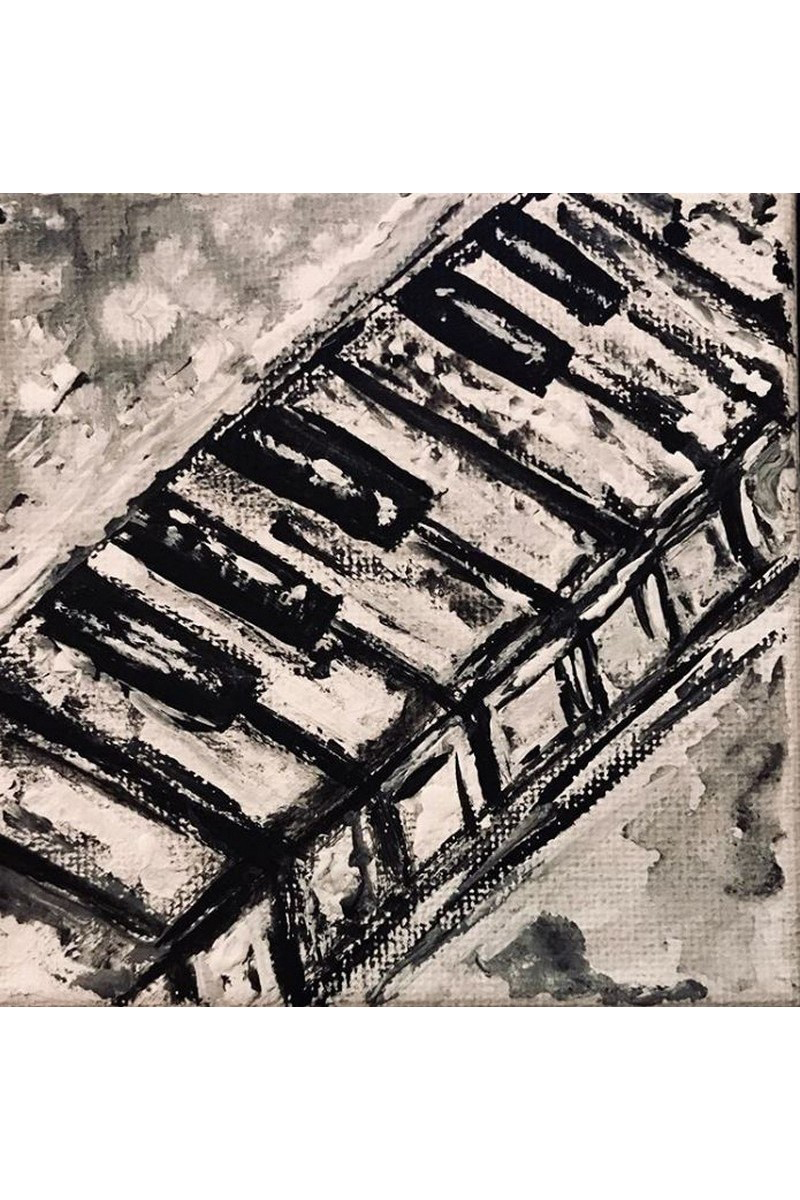 Buy Music painting black and white, art canvas, modern acrylic painting, gift for friends