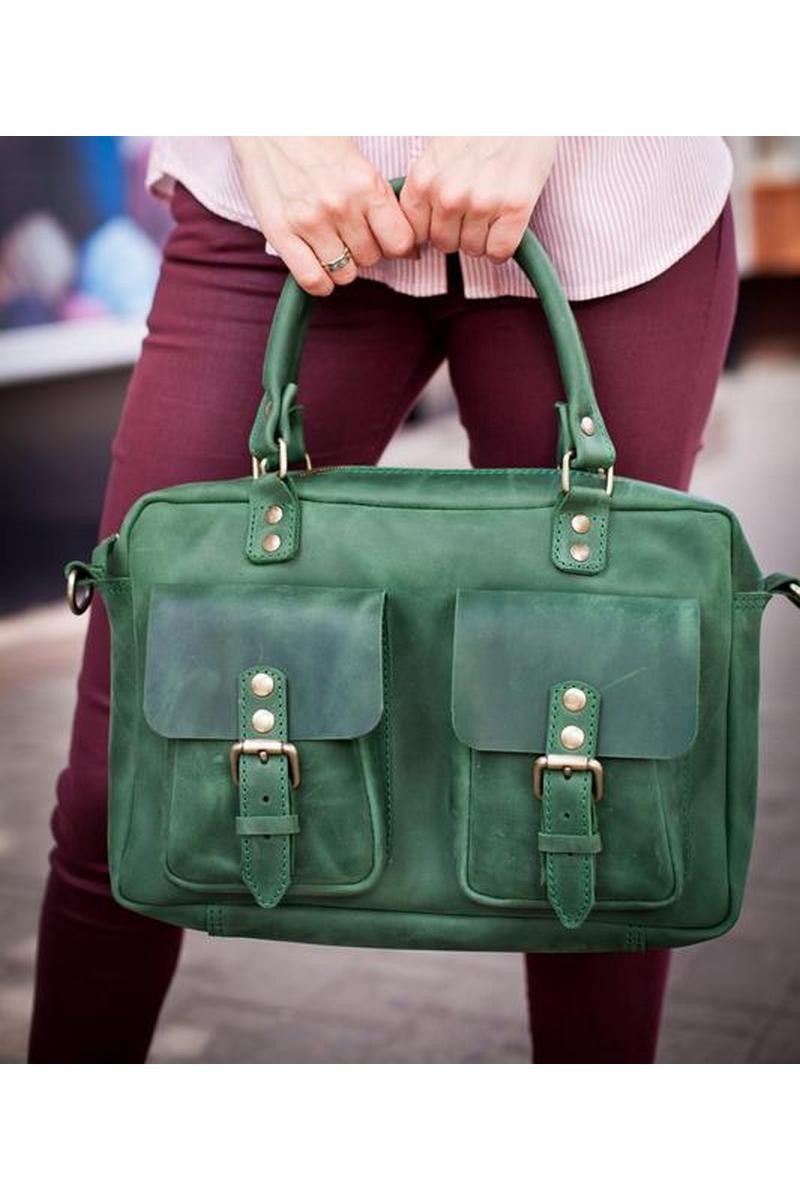Buy Real leather handmade green laptop briefcase, Women men stylish comfortable case