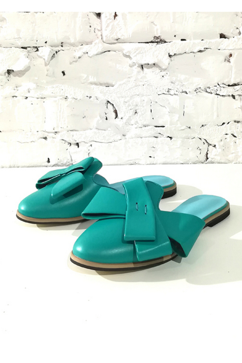 Buy Mule leather comfortable flat sole turquoise closed toe bow, Designer shoes