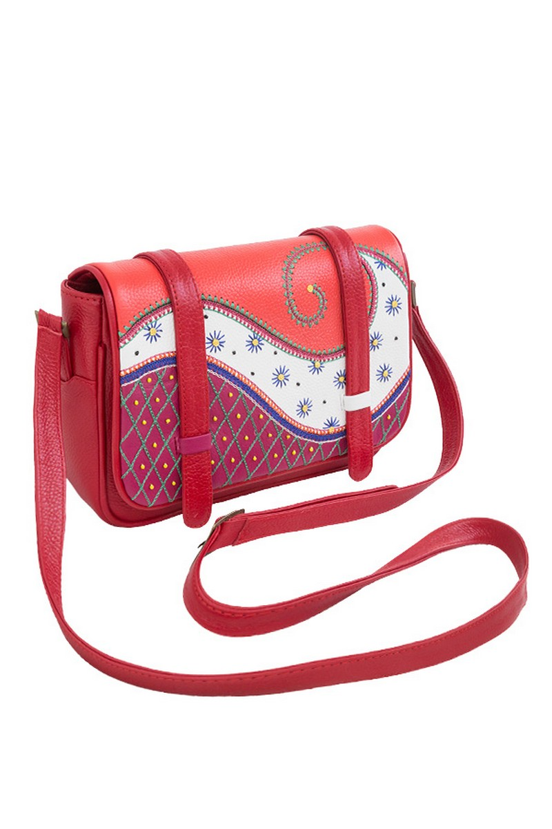 Buy Genuine leather small crossbody bag, stylish red women casual party comfortable bag