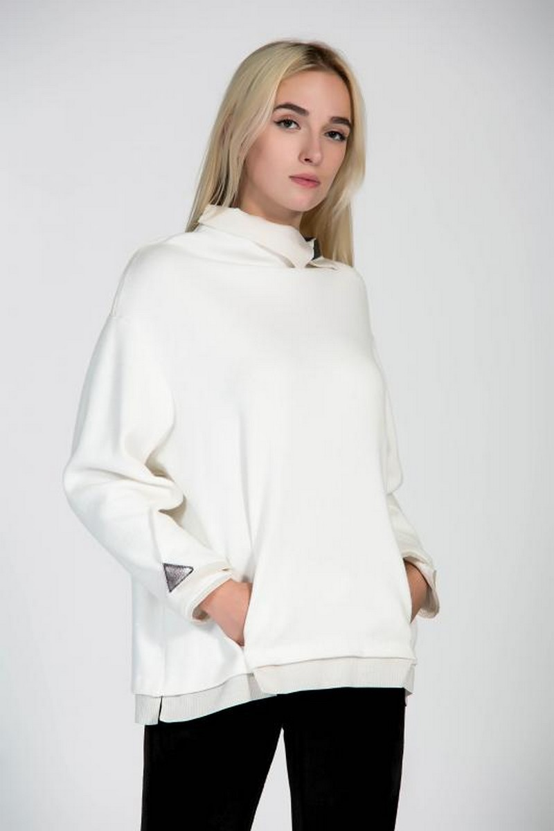 Buy Comfortable white loose oversized warm sweater, winter angora women casual sweater