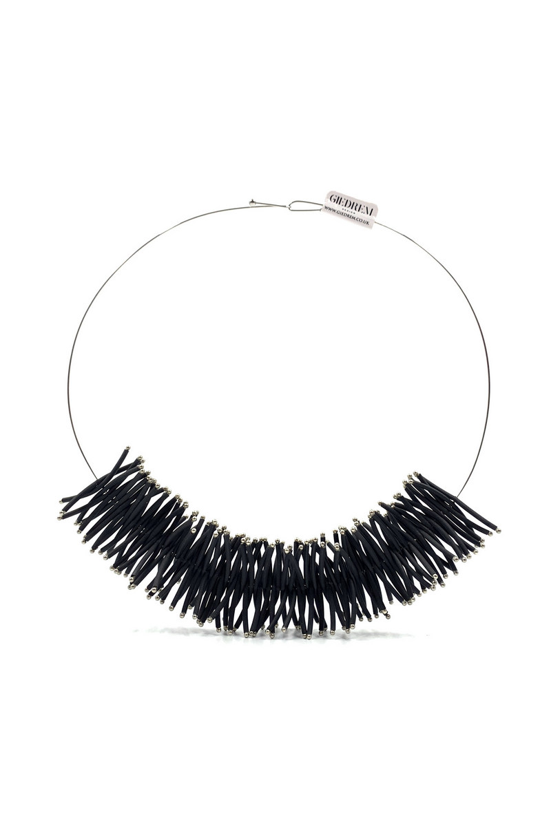 Buy Unique elegant contemporary women rubber tubes hypoallergenic stainless steel beads women necklace