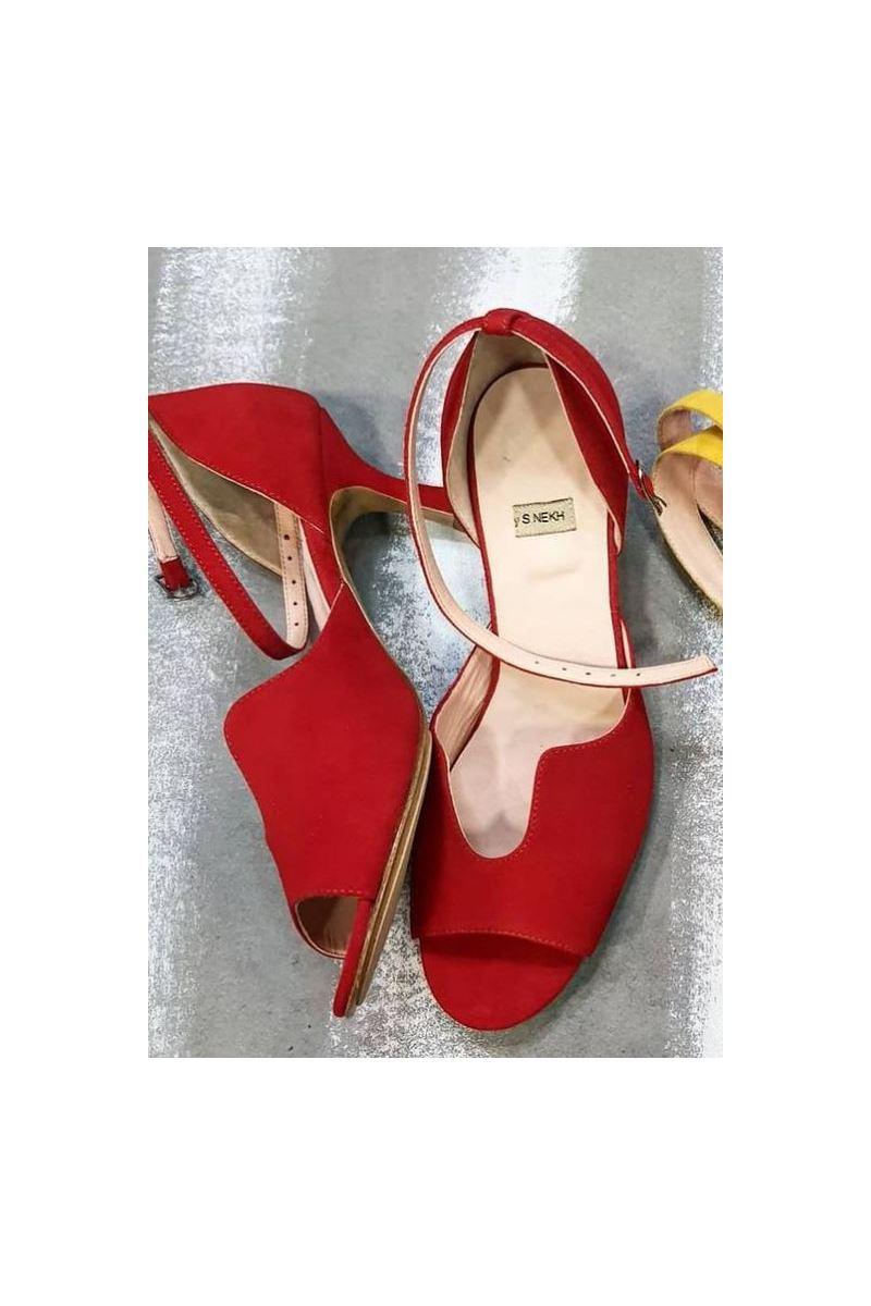 Buy Red women sandals stiletto heel curly cutout closed heel buckle, Fashion Designer Handmade Shoes