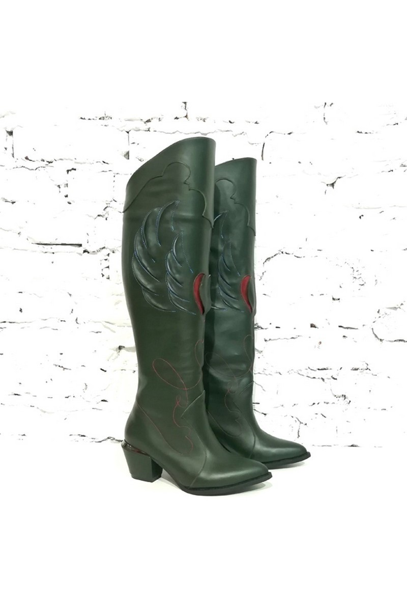 Buy High Stylish Cossack Women`s Real Leather Green Boots, Western Cowboy Patterns Boots