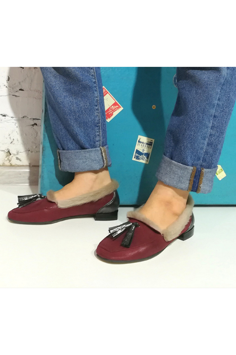 Buy Moccasins stylish women soft comfortable burgundy loafers stiff heel soft toe
