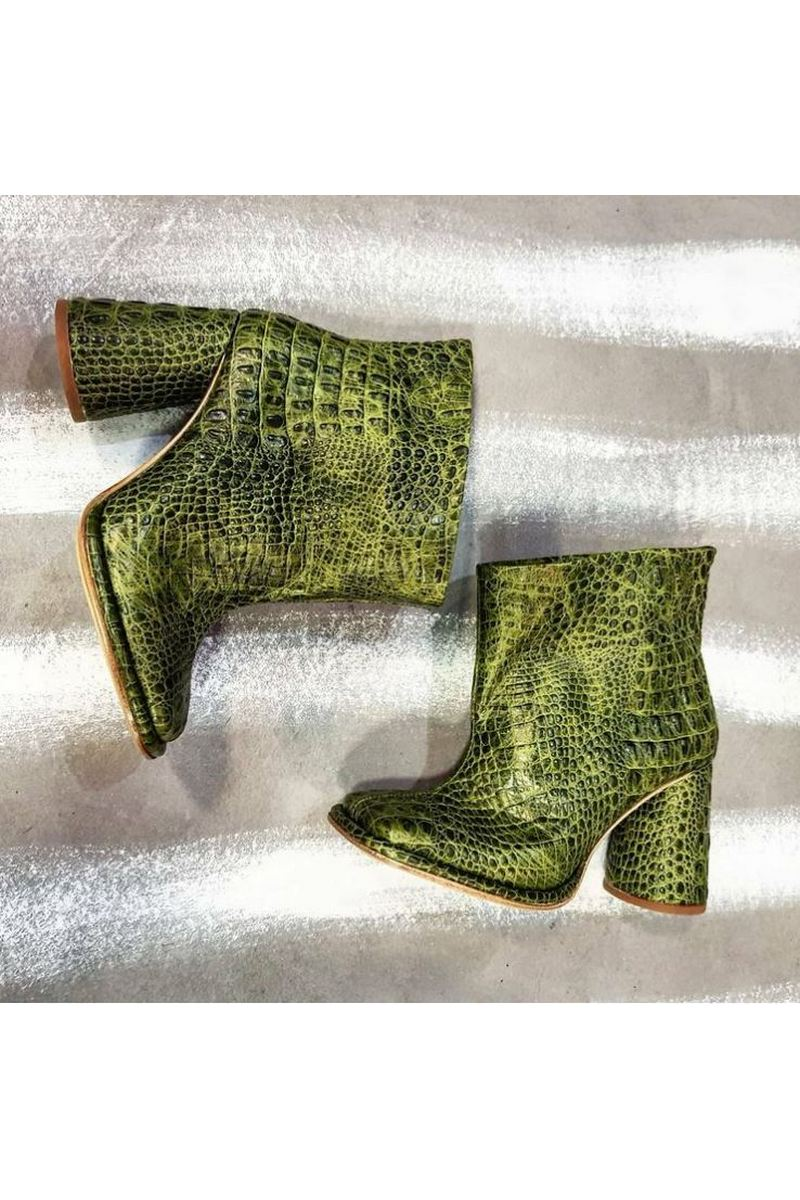 Buy Women crocodile print green leather ankle boots, Fashion square toe round heel short boots