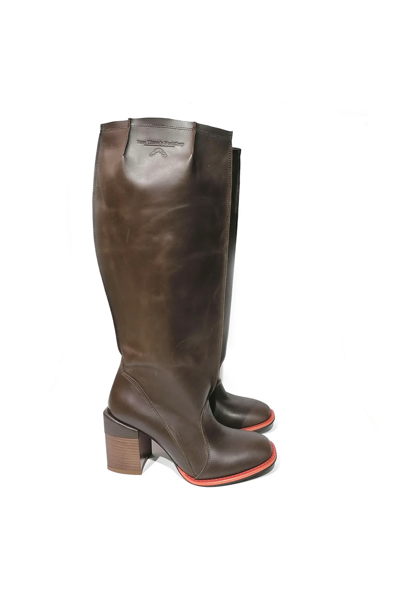Women Boots military style brown black leather heel combat boots