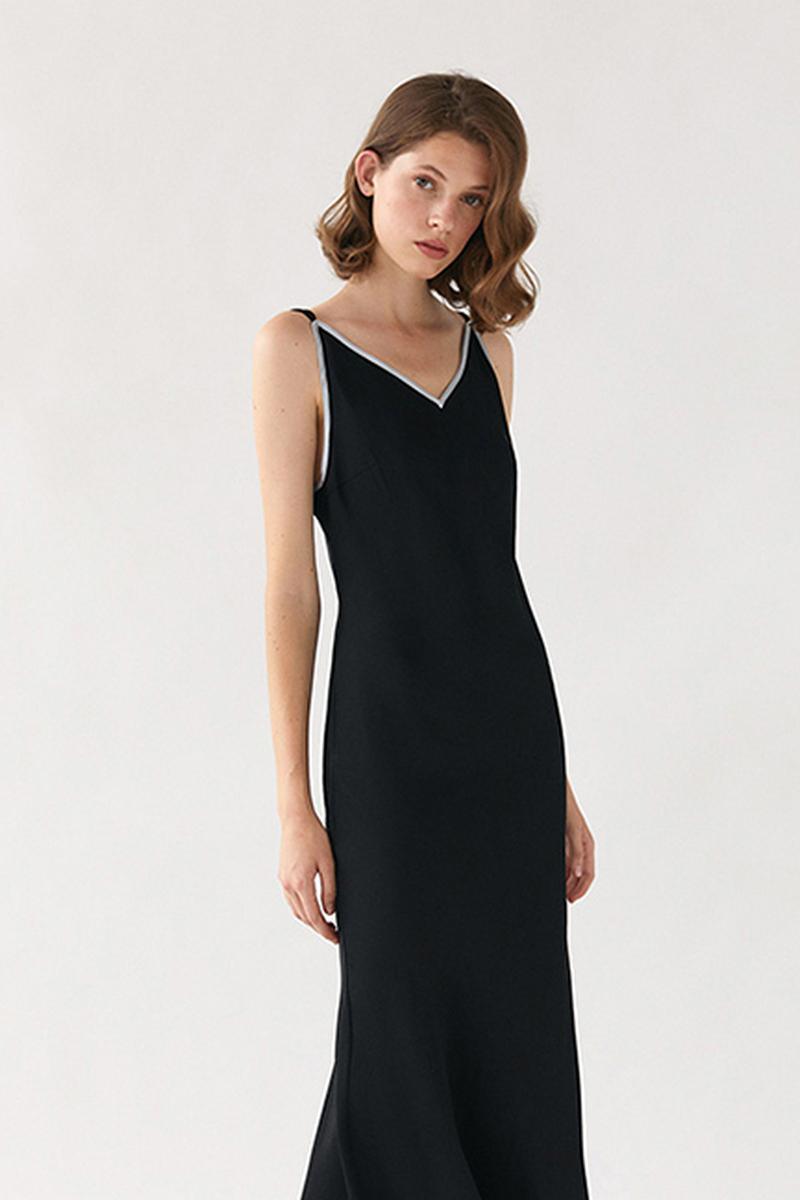 Buy Women Maxi Silk Black Spaghetti Sleeveless V neck Open Back Evening Dress