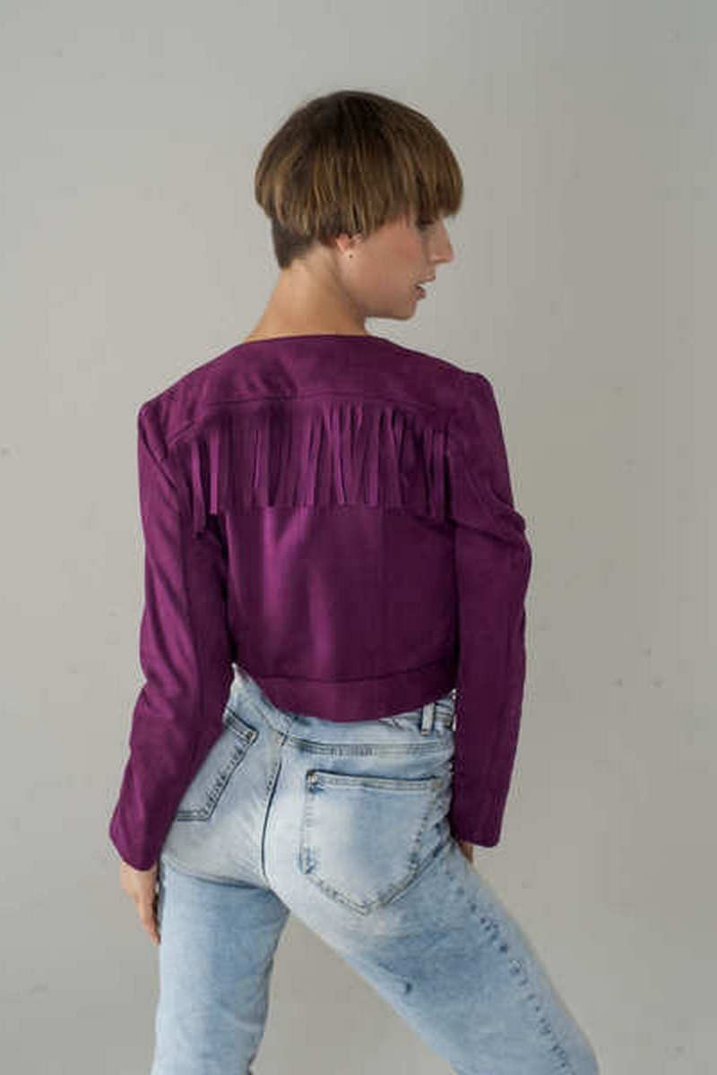 Buy Suede Jacket, Fringed jacket, Jacket, Boho Jacket, Women's Jacket, Fucsia color