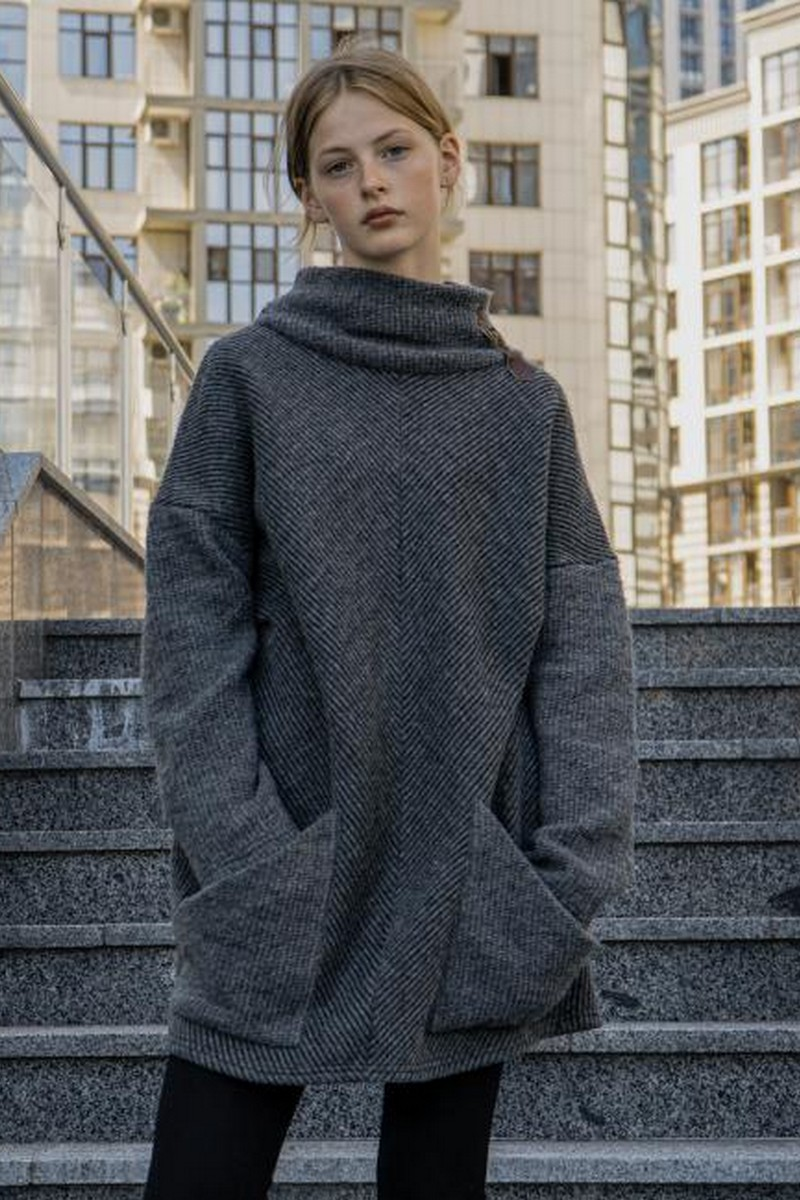 Buy Loose warm oversized grey sweater, Comfortable stylish women sweater