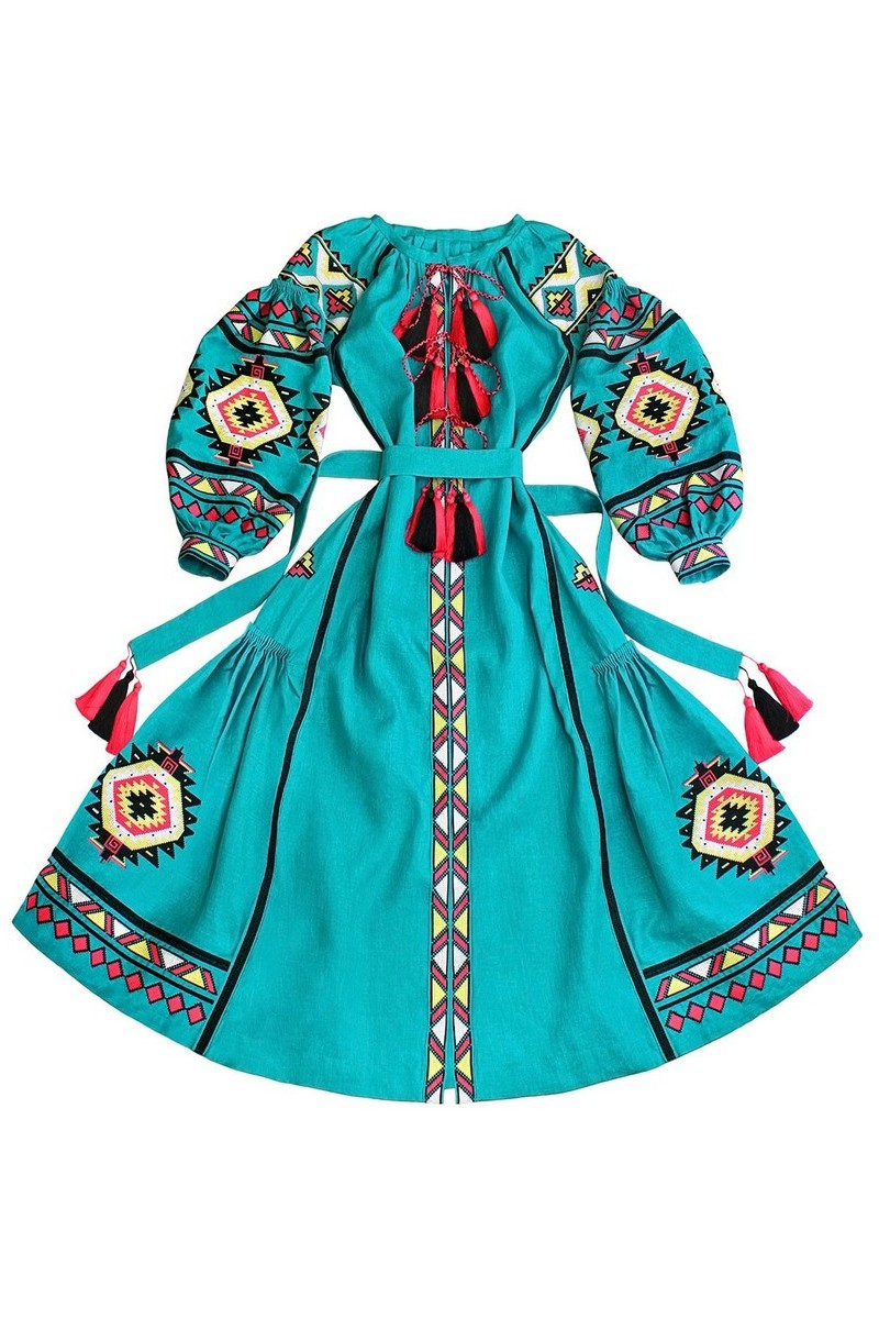 Buy Long turquoise linen embroidered dress, Ukrainian authentic embroidered dress