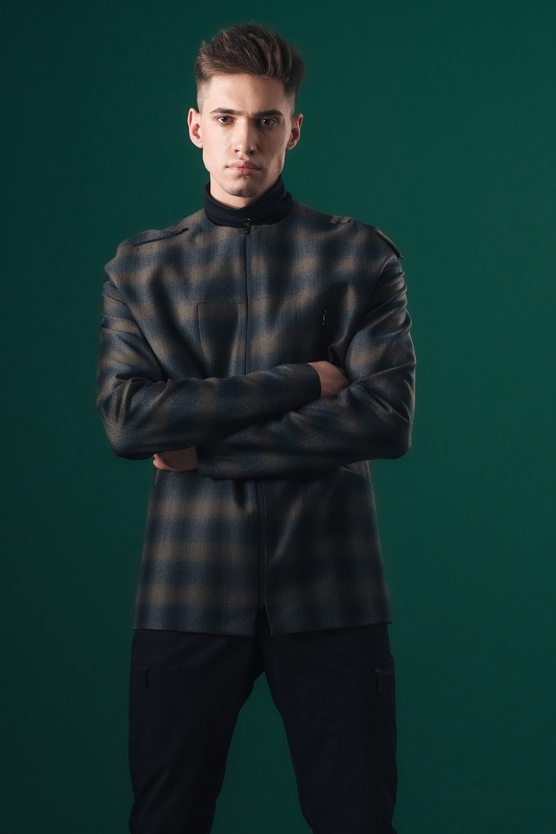 Buy Wool Jacket casual for men dark green with beige into the cell