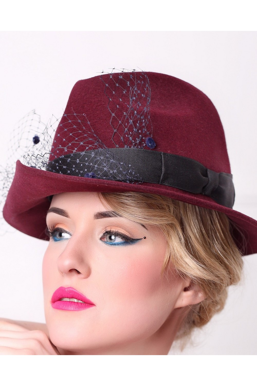 Buy Burgundy felt women's fedora hat in retro style, Exclusive unique stylish hat for holiday and casual