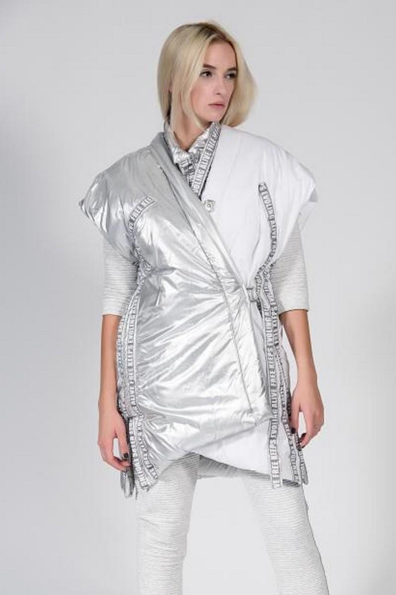 Buy White silver warm women waistcoat, long original asymmetric waistcoat