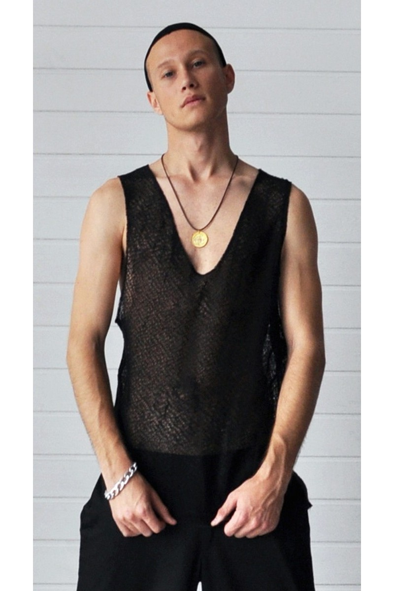 Buy Black comfort knitted cotton t-shirt, sleeveless v neck casual party club men designer tee