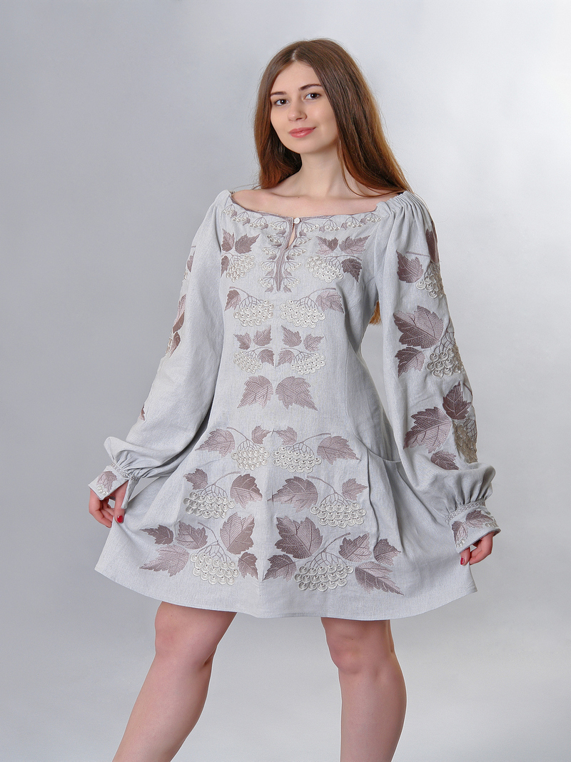 Buy Women mini dress linen embroidered, Boho Folk Ukrainian style vyshivanka