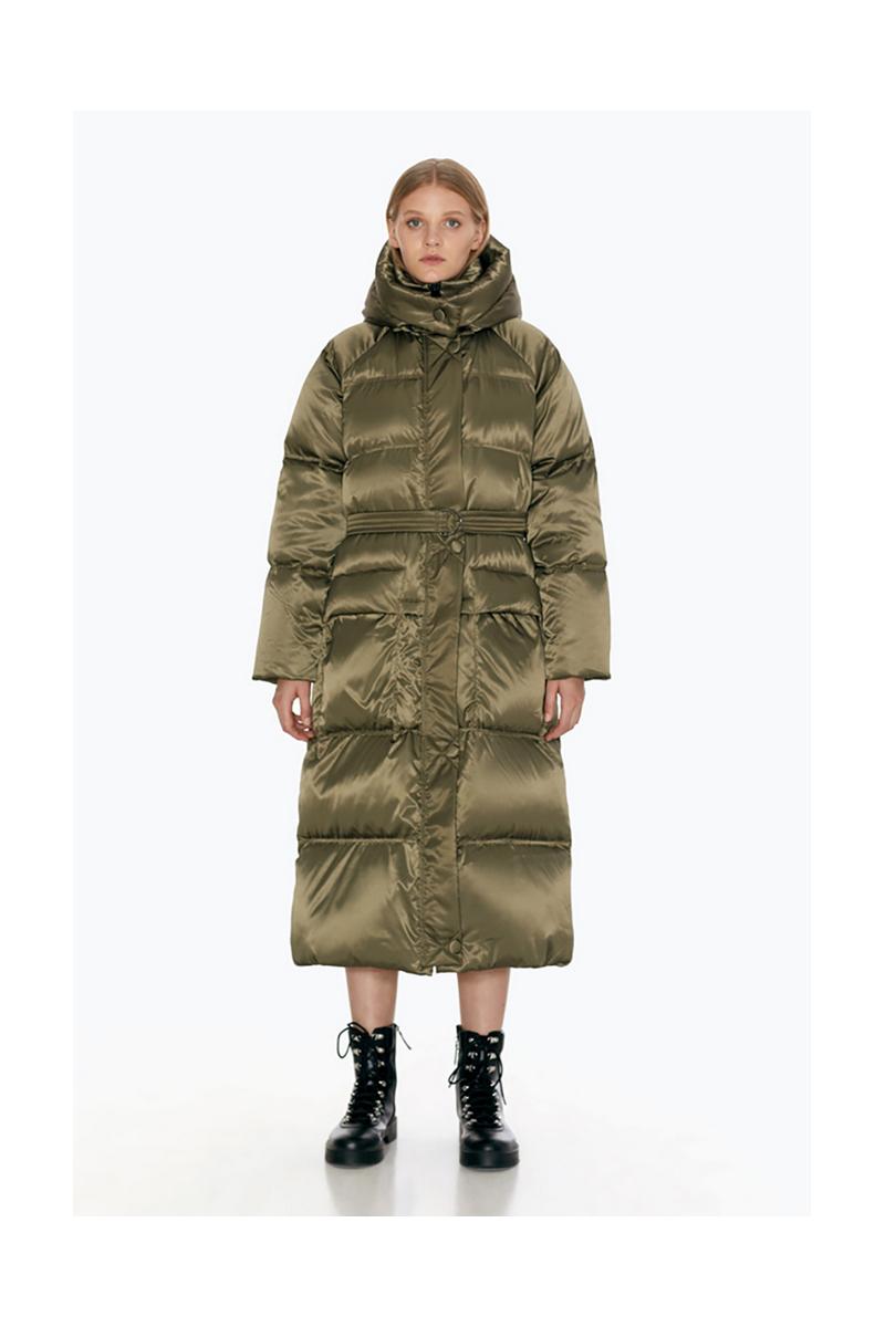 Buy Long down green comfortable warm hood trapezoid coat