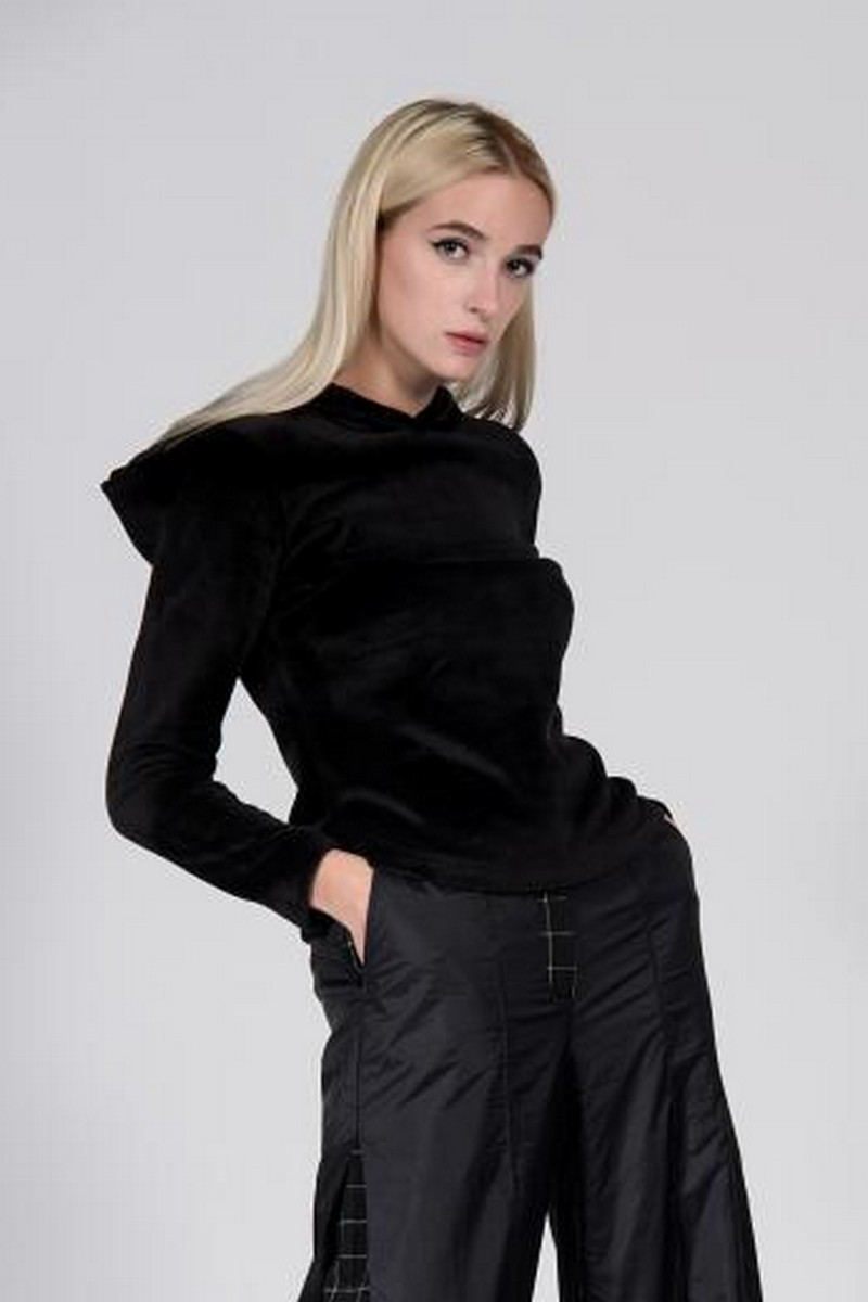 Buy Black warm women hooded sweater, winter stylish eco fur clothes