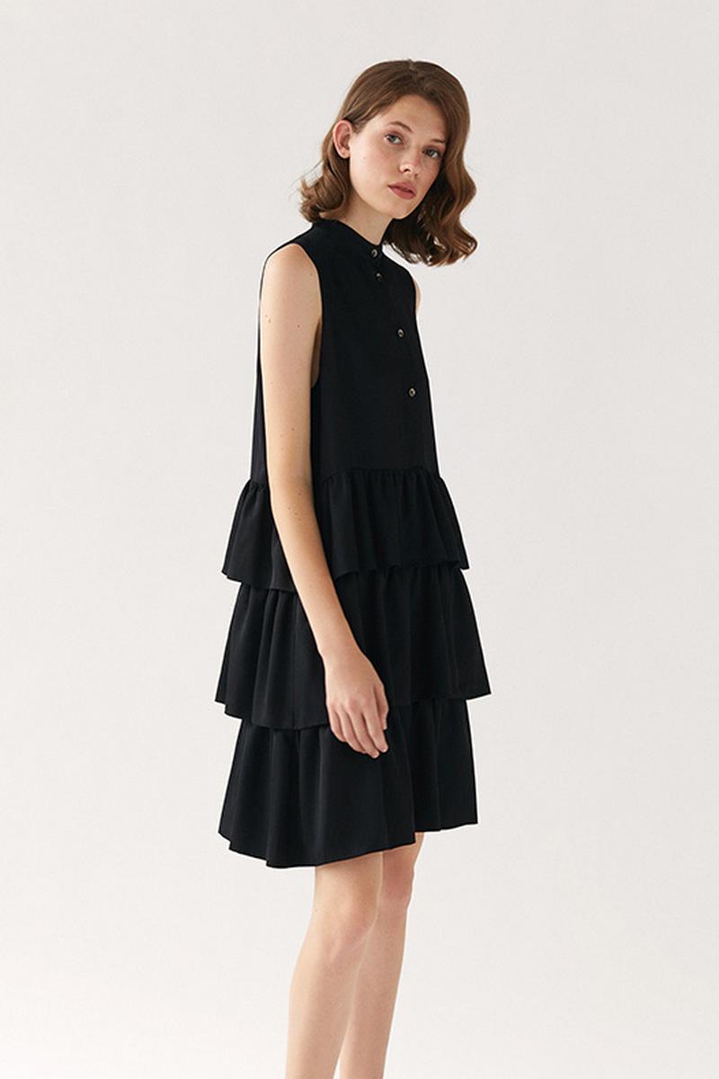 Buy Elegant Silk Little Black Sleeveless Buttons Dress, Ruffles Fashion Retro Women Dress
