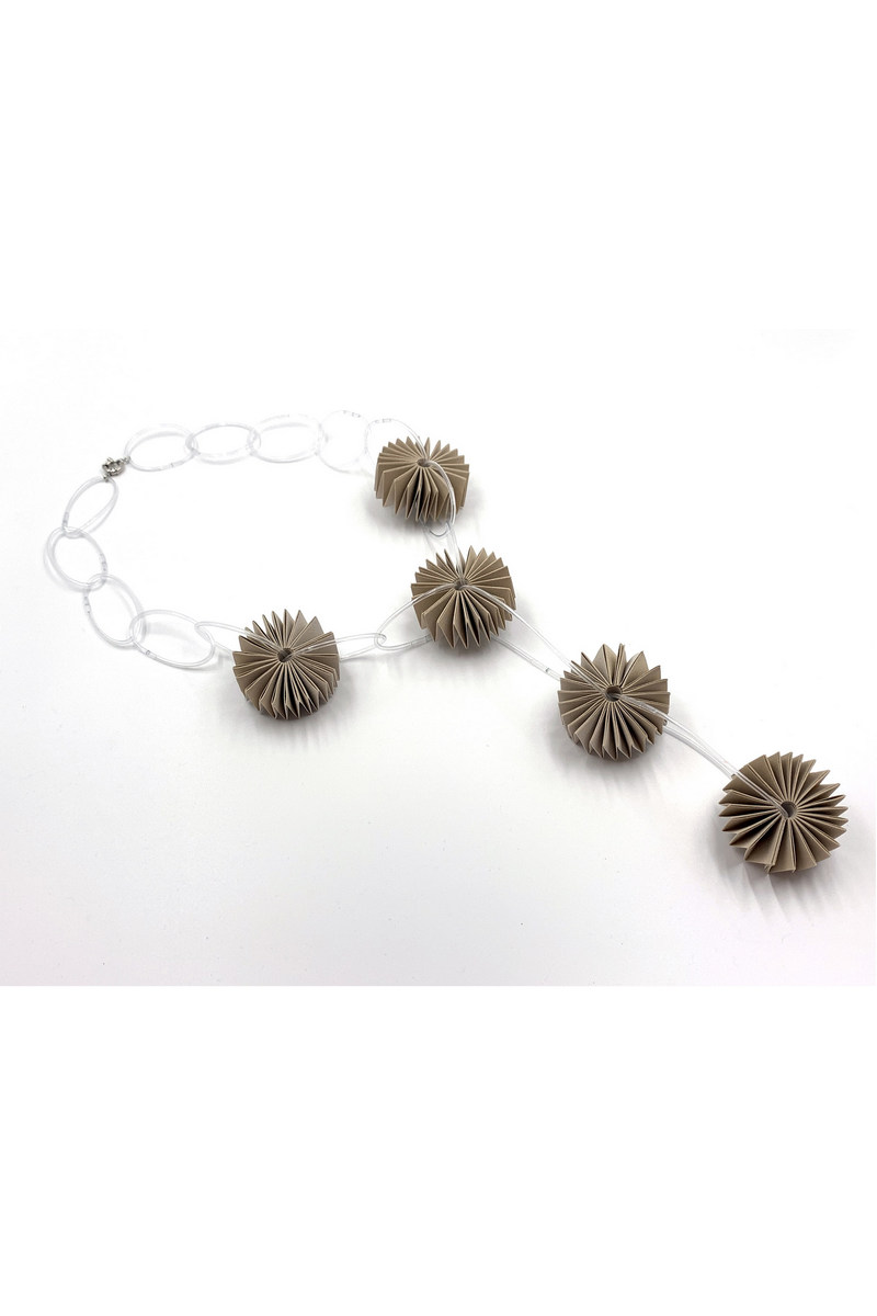Buy Handmade circles lustrous fabric and clear PVC women unique women necklace