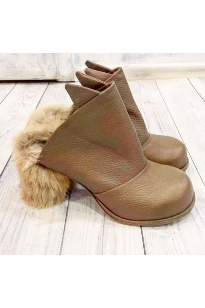 Buy Fur heel leather beige women's boots, stylish unique designer handmade shoes