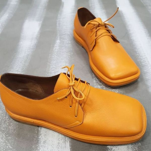 Buy Orange White Leather Women's Fashion Lace-up Comfy Shoes Square Toe Low Heel Casual Shoes