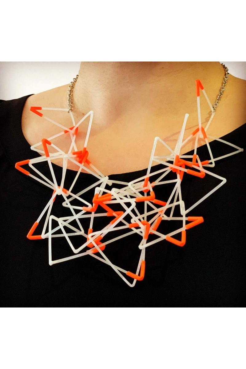 Buy Geometric Sculptural Handmade 3D necklace, Unique designer women jewelry