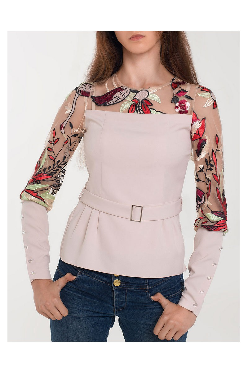 Buy Blouse, Embroidered blouse, Floral Embroidered Blouse, Casual Blouse Shirt Women Slim White Tops Long Sleeve Blouses Woman Office Shirts