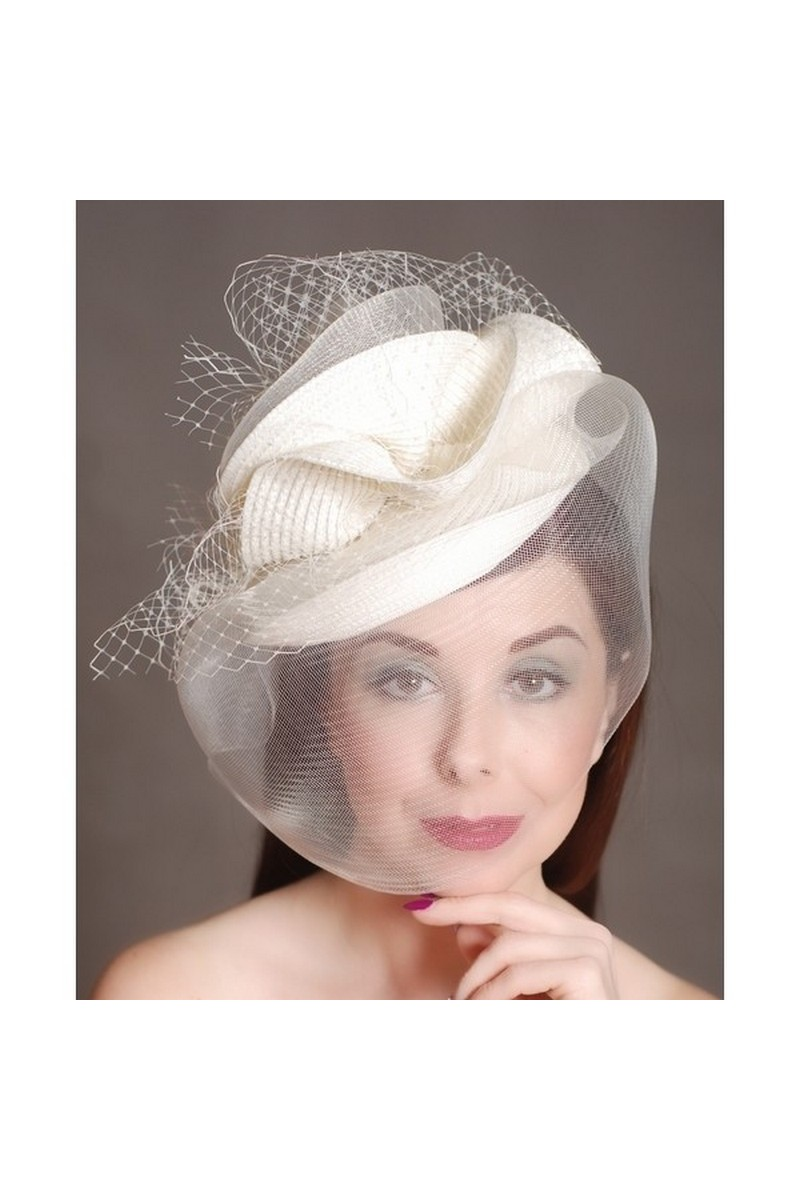 Buy White Retro Womens Hat Mesh Bridal Face Veil Feather Hat Wedding