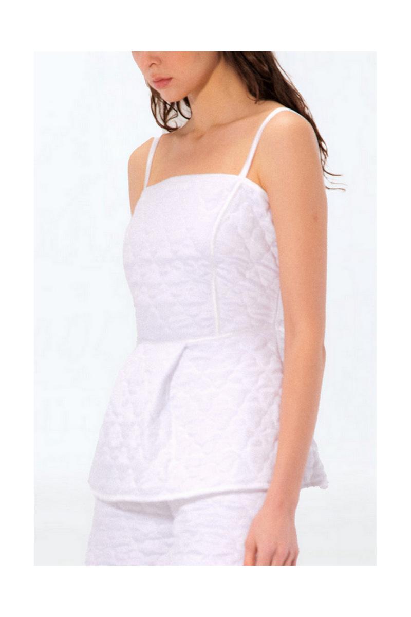 Buy Women's Sexy Spaghetti Strap White Peplum Quilted top, Elegant Summer Sexy Sleeveless Shirts
