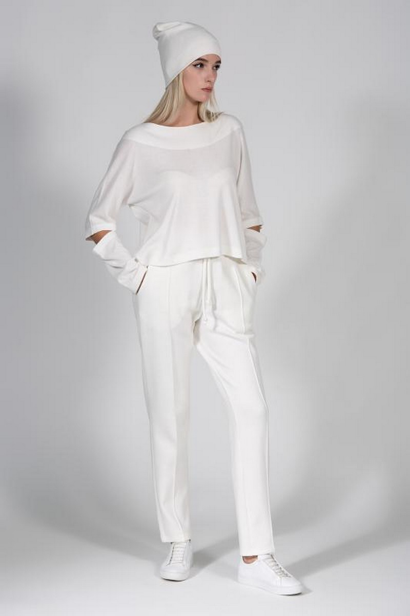 Buy Comfortable stylish white women suit, casual elegant knit suit