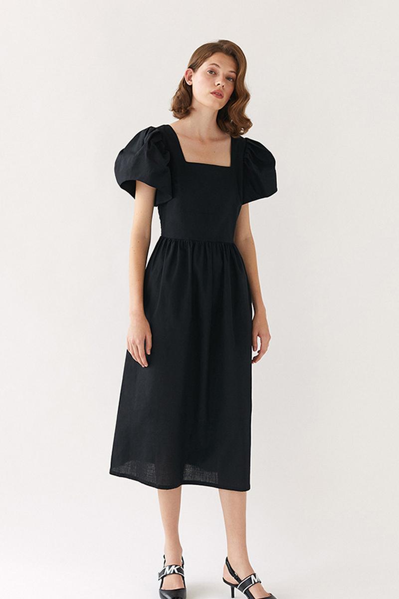 Buy Linen elegant black dress, square neckline short sleeves midi open back dress