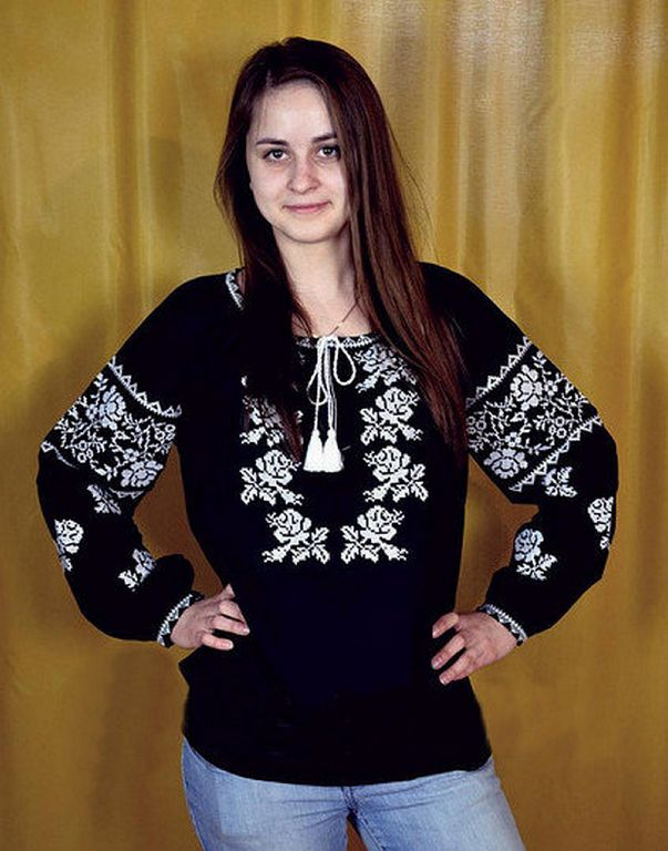 Buy Women's embroidered Ukrainian cotton black blouse with long sleeves