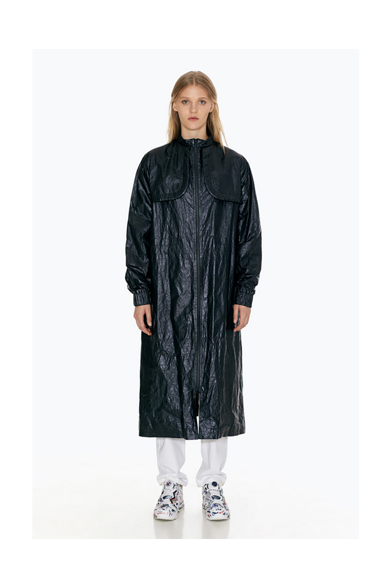 Buy Midi black polyamide cotton loose zipper urban city casual women`s raincoat
