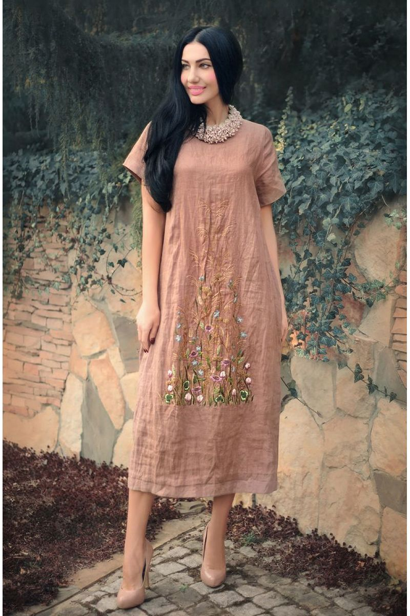 Buy Linen beautiful comfortable straight beige midi embroidered balloon dress, short sleeve pockets
