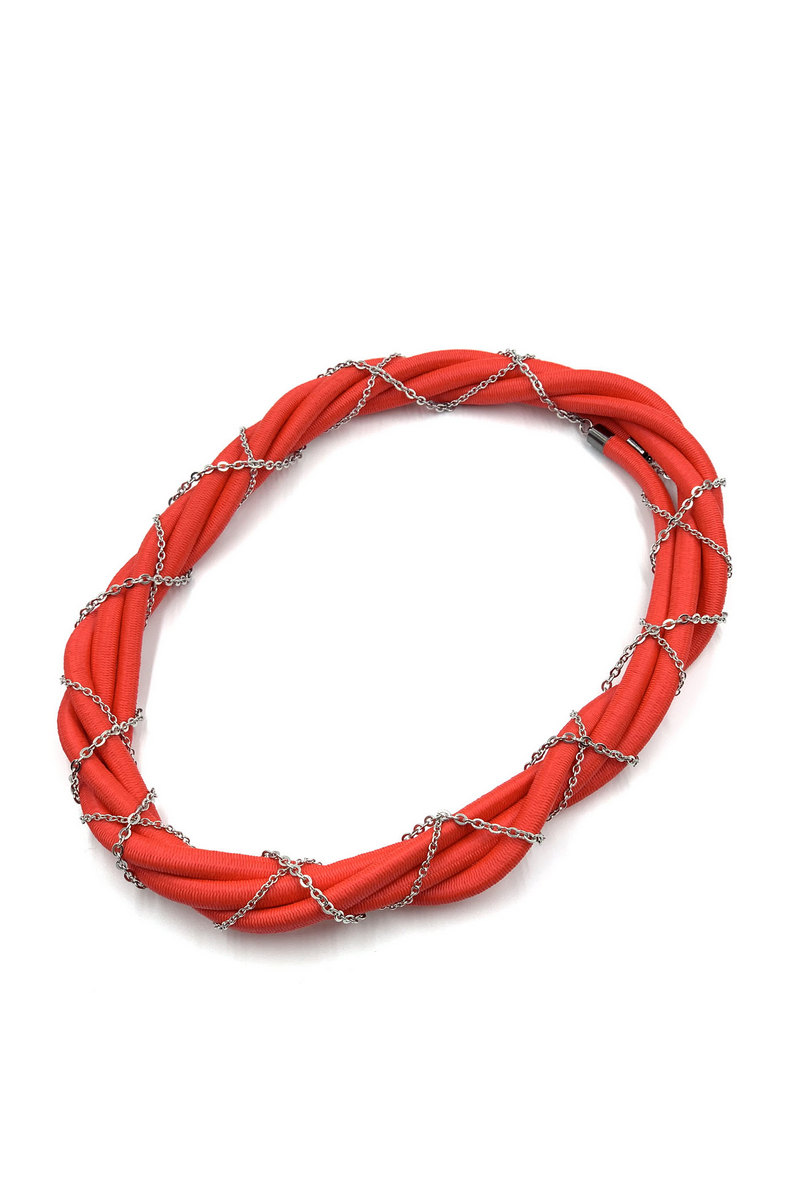 Buy Contemporary fashion rubber cord stainless steel hypoallergenic women necklace