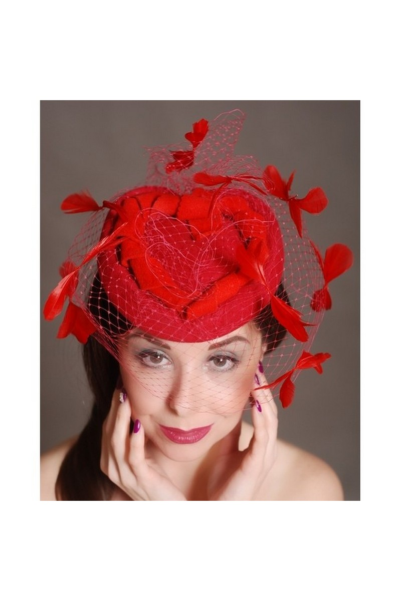 Buy Red heart hat veil with red feather, heart hat, red cocktail hat