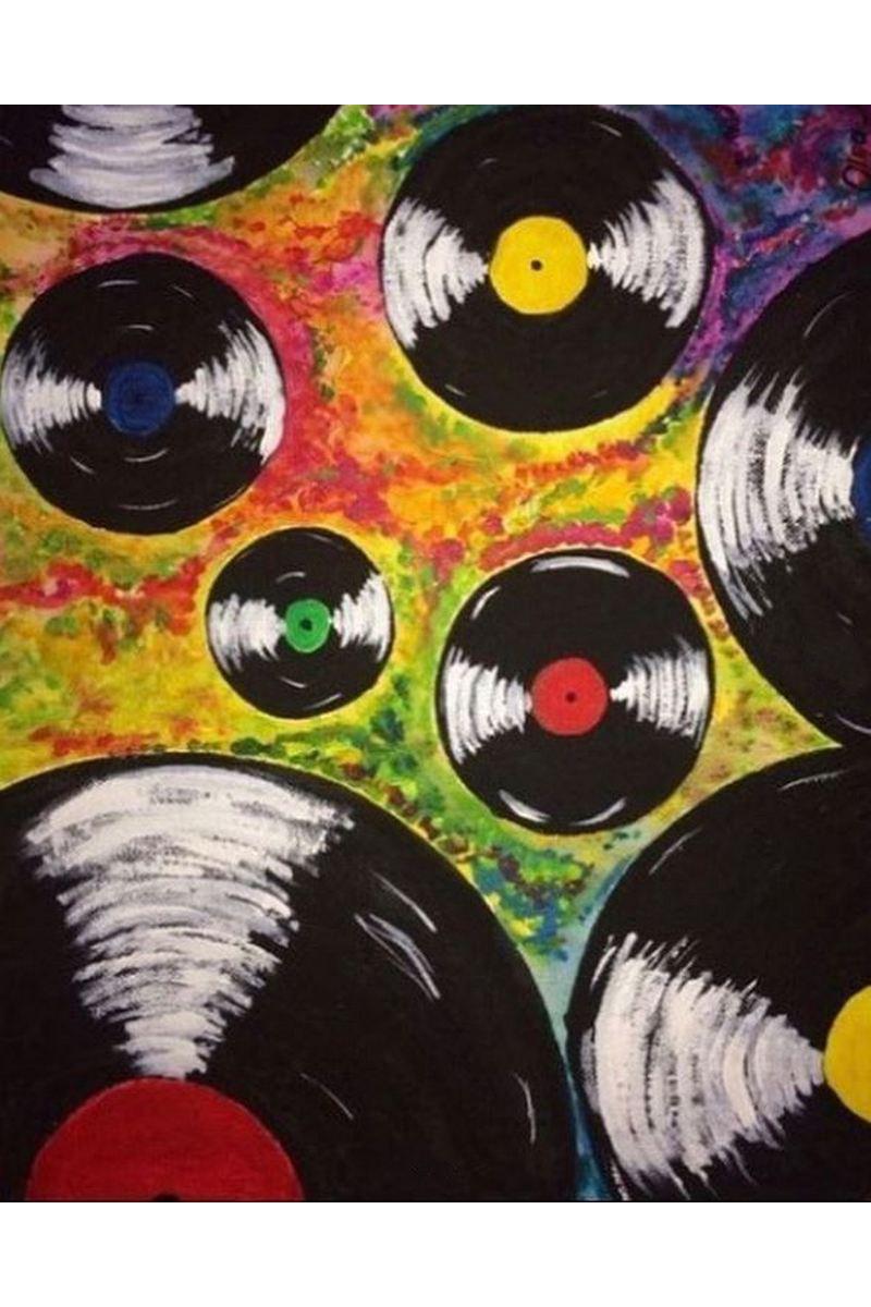 Buy Acrylic big canvas Vinyl records, music rocknroll modern art, acrylic painting